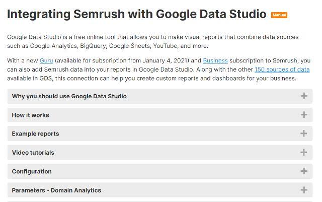 Integrating Semrush with Google Data Studio image