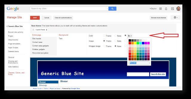 change color size on google sites